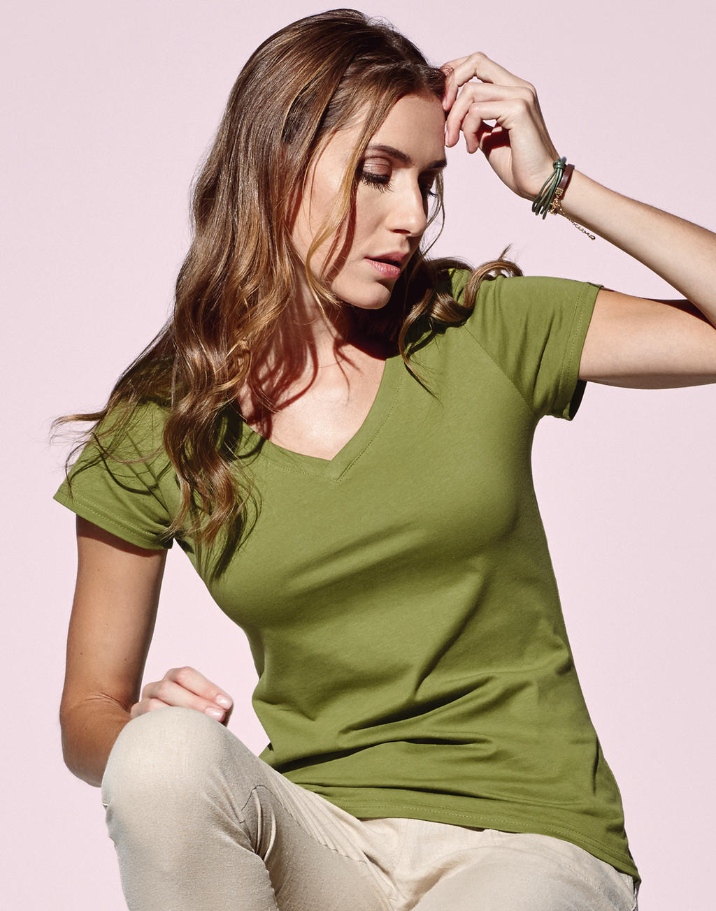 Duurzame T-shirts V neck vrouwen